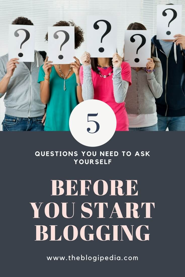 5 People standing with question marks in their hands - Should I Start a Blog illustration