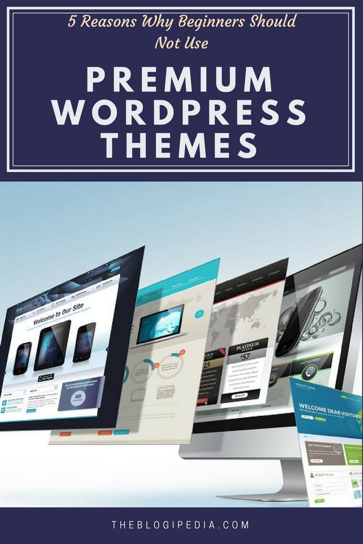 5 Reasons Why Beginners Should Not Use Premium WordPress Themes- pinterest pin